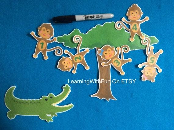5 Little Monkeys Swinging Felt Board Stories Flannel Board Stories Crocodile Story Monkeys Felt Stories Educational Toy Math Stories