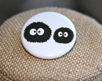 My Neighbor Totoro Susuwatari Button, Spirited Away Susuwatari Button, Soot Button, Soot Sprites Button, Studio Ghibli Pin, Miyazaki Pin