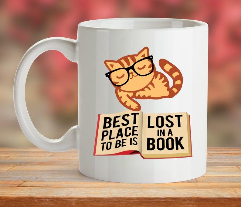 86bcfd51 Cat Nerd Mug Glasses Cat Cup Gift Coffee Book Kitten Mug | Etsy
