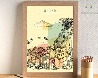 Sorrento print, Sorrento Italy art, Sorrento Italy, Italy Print download, Watercolor, Sea poster, Mountain Printable Wall Art, City prints