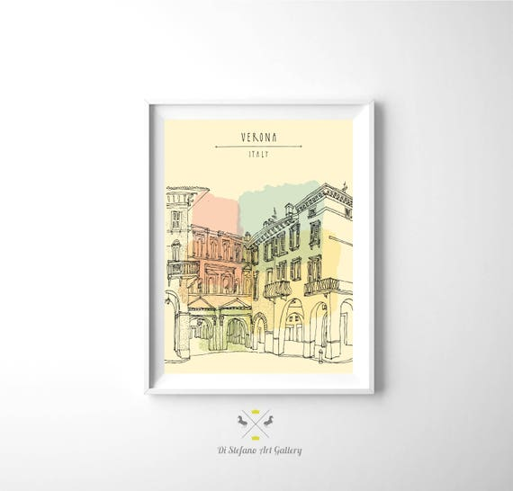 Digital Watercolor Verona Italy Digital Download for Print Graphics on old paper wall decor, Retro style Large Poster
