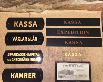FREE WORLDWIDE SHIPPING - Antique bank signs from Göteborgs Bank at Marstrand , Sweden