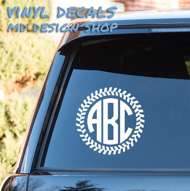 Decal Custom Baseball//Softball Monogram Decal Cup Monogram Vinyl Monogram Car Accesories Car Decal Phone Monogram Script Monogram Personalized Car Decal