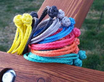 """dyneema soft shackle 4 pack any color combo 7 colors 7/64"""" button knot"""