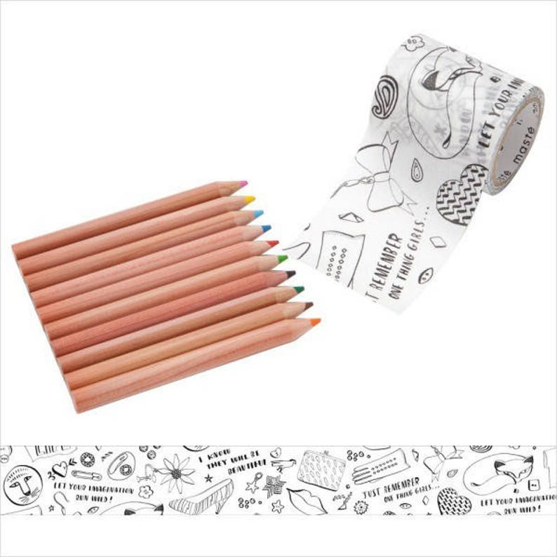 Masking tape for coloring  Fashion design  with 10 Colored image 0
