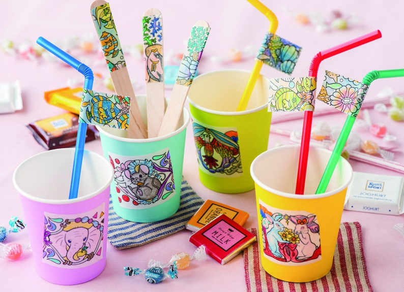 Flowers design Create your own washitape Floral Washitape Gift Set Coloring washi tape kit with 10 Colored Pencils