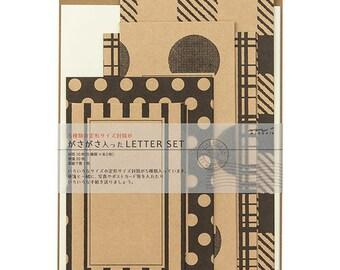 Kraft & Black letter set, Holiday card making set, Xmas writing kit, Letter writing set, Envelope letter set, Christmas gift for her