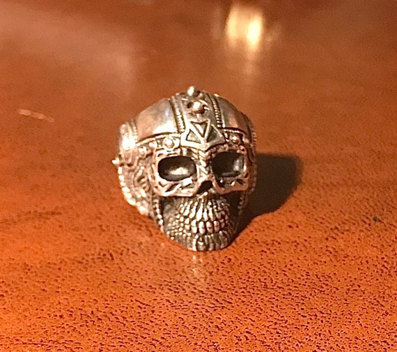 Heavy Sterling Silver Biker Skull Ring