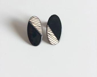 Graphic, black earrings ceramic earrings, black, graphic