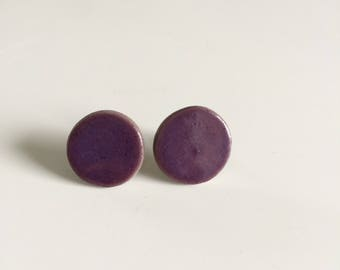 Earrings chips cermaique ultra violet, earrings, purple, ceramics, elegant,