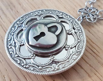 Padlock Round Silver locket - bdsm ddlg Dom sub Master slave Sir kitten owned jewelry Victorian vintage style