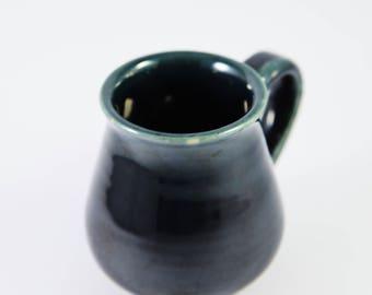 Hand Made Pottery Medium Mug , Dark Green/ Blue ,