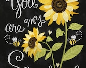 """Timeless Treasures - You Are My Sunshine - 23.5"""" Large Sunflower Panel - Black - Cotton Fabric by the Panel C5344-BLK photo"""