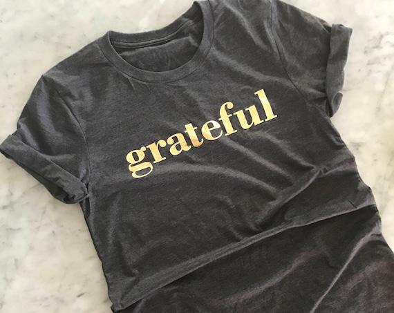 Grateful Gold Foil  Tee Dark Heather Grey Unisex Gratitude Gracious Love