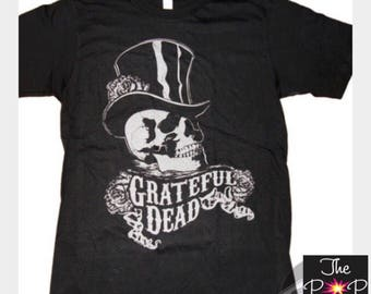 a15730b98b4 Grateful Dead Skull and Top Hat Unisex Black Ringspun T shirt Dead Company