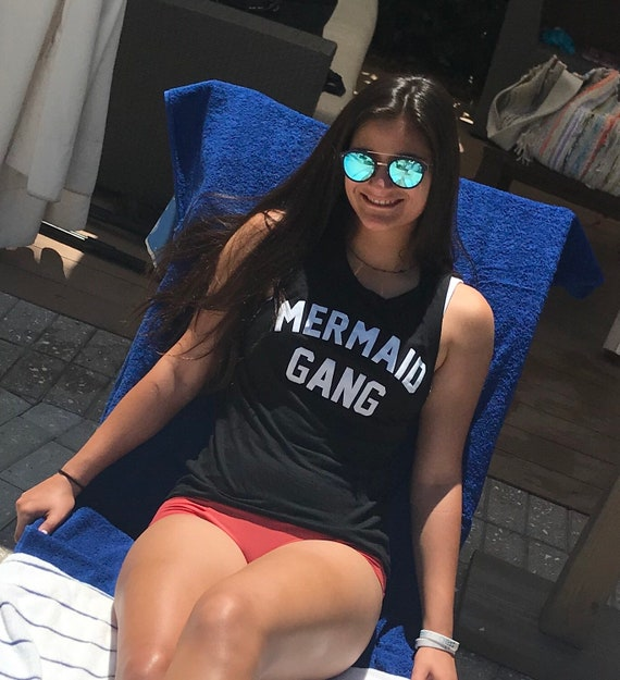 Mermaid Gang Muscle Tank Top  Black Ladies fit