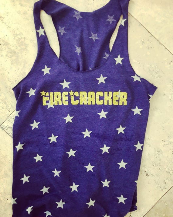 Limited Edition Firecracker Stars Ladies Tank Top Perfect for Fourth of July 4th