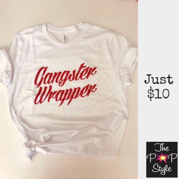 Christmas Gangster Wrapper T Shirt Tee Holiday Funny Ringspun Cotton Ladies or Unisex Fit