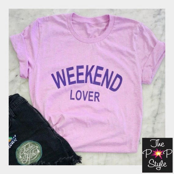 Weekend Lover Violet Purple Comfy Graphic T Shirt