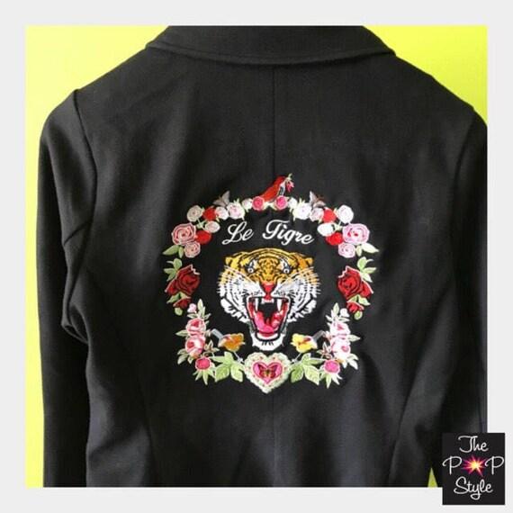 Le Tiger Blazer custom Embroidered Ponte  Knit inspired by Japanese  Souvenir Jkts