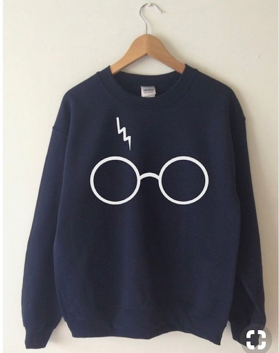 Harry the Wizard Navy Blue Adult , Glasses and Scar Cozy Sweatshirt unisex fit