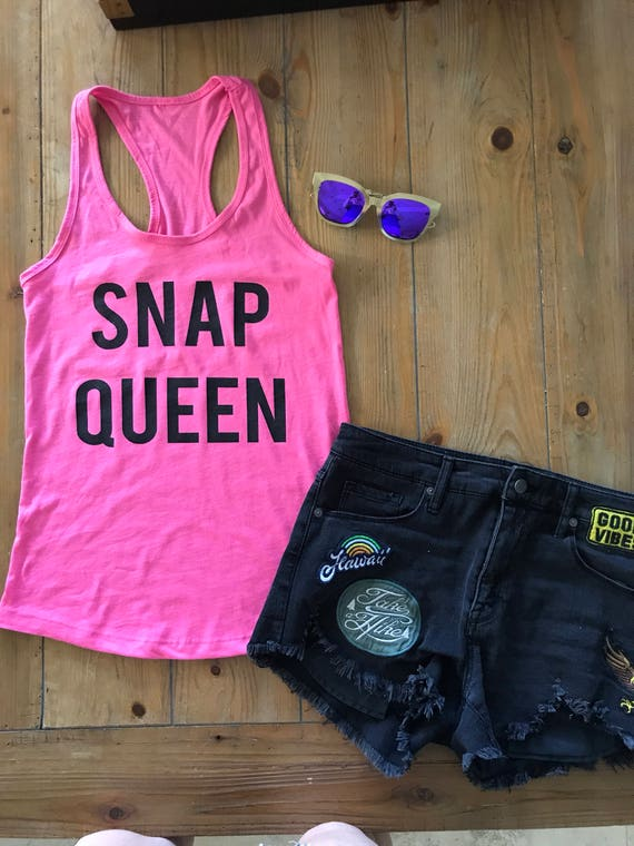 Snap Queen Ladies Pink Racerback  Tank Top snapchat
