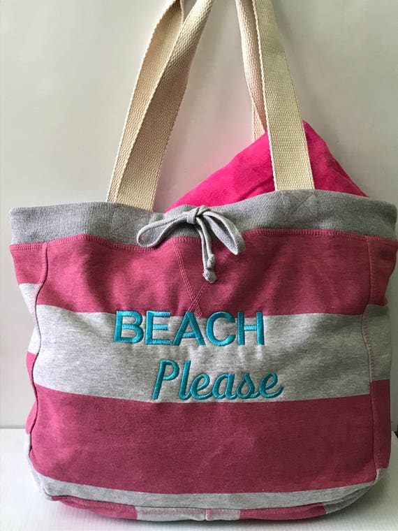 Beach Please Soft Cotton Jersey Tote Large Pink and White stripes with logo