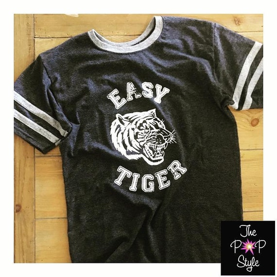 Easy Tiger Vintage Varsity Ringer  Casual Chic  Jersey Short Sleeve Unisex T shirt in Charcoal Grey Tri Blend