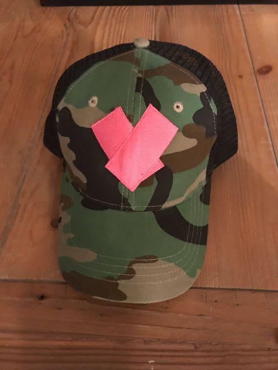 Camo Trucker Hat with Heart Camouflage mesh back Adjustable Valentines Day