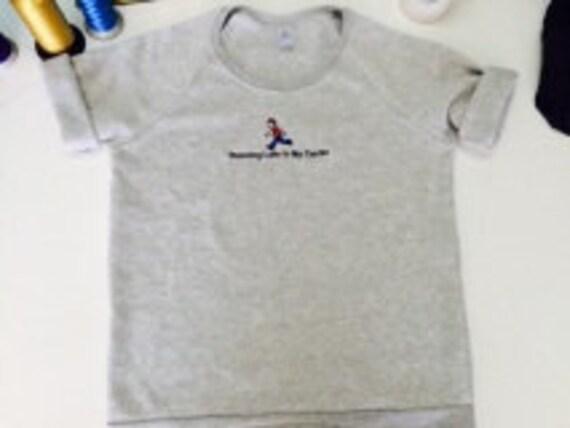 Running Late Is My Cardio Emoji Sweatshirt Embroidered Heather Grey Alternative Brand