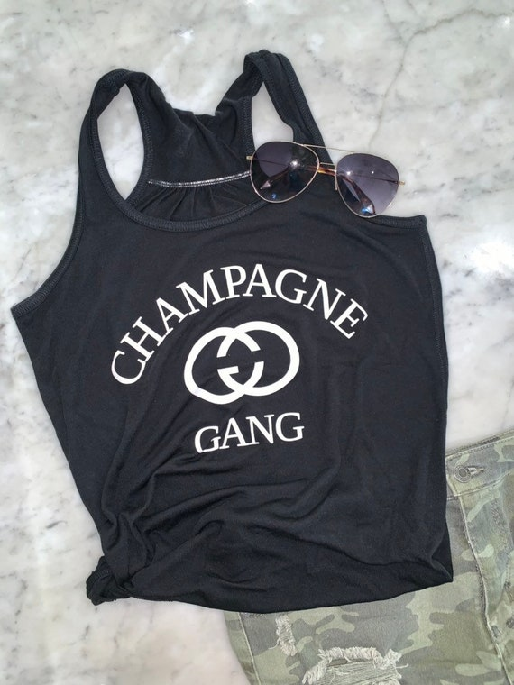 Champagne Gang Ladies Fit Racer Back Tank Top, Perfect Brunch Shirt, T shirt for a Girls Trip