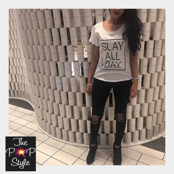 Slay All Day Ladies Scoop T Shirt Loose Fit  White or Grey