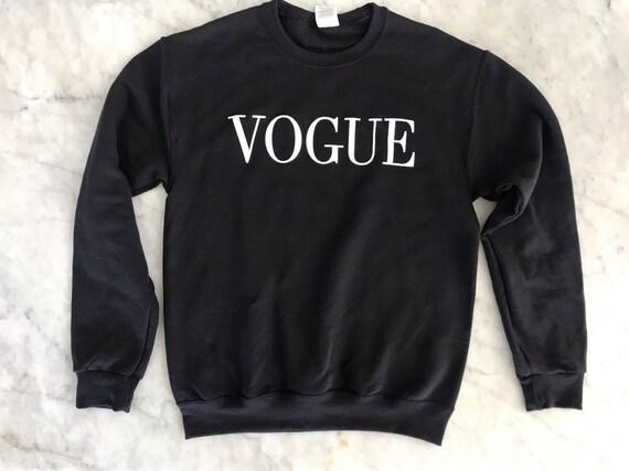Vogue Black unisex pullover fashion top