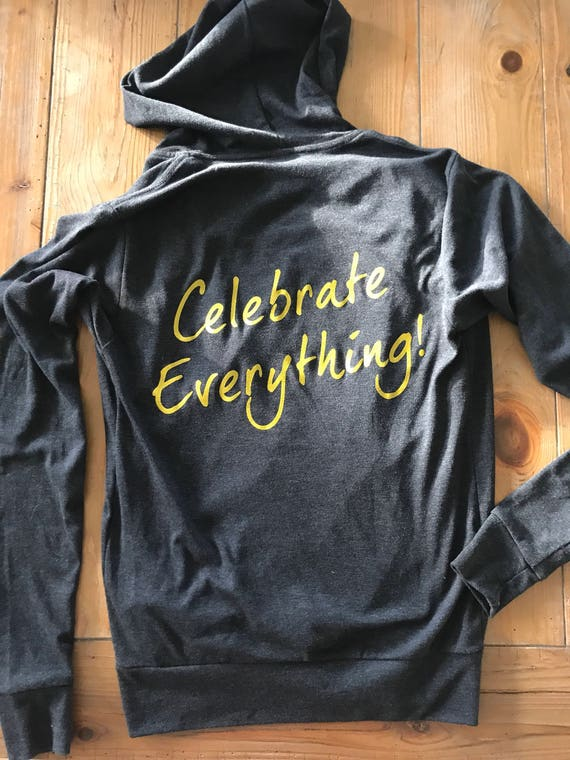 Celebrate Everything Zip Up Hoodie Datk Heather Grey with Embroidered Gold Heart