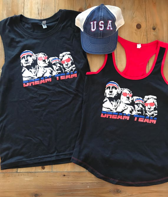 Dream Team USA Muscle Tee Unisex Mount Rushmore  Muscle Tank Unisex Black