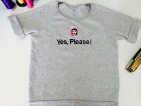 Yes Please ! Custom embroidered Emoji Sweatshirt Alternative Brand heather grey