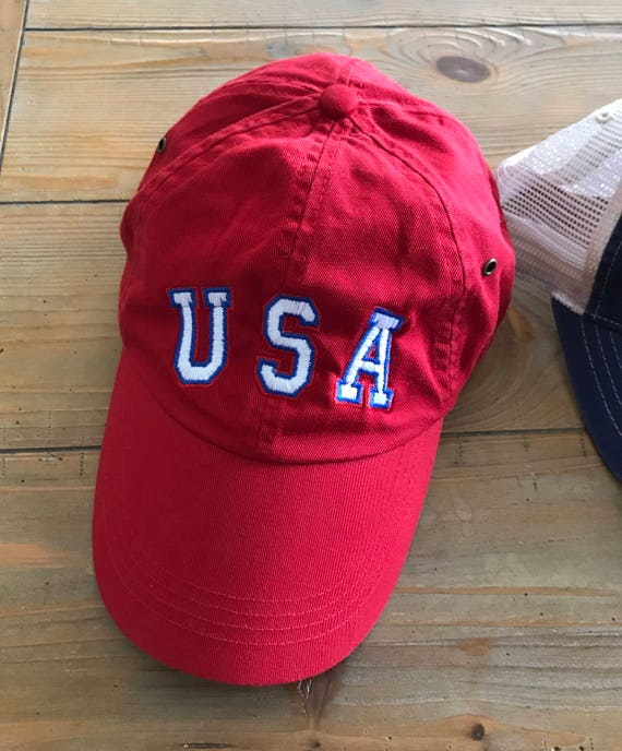 Red USA Hat 4th of July Forth of July Party Independence Day Celebration Dad hat style