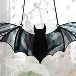 Halloween Window Decoration Black Stained Glass Bat Suncatcher