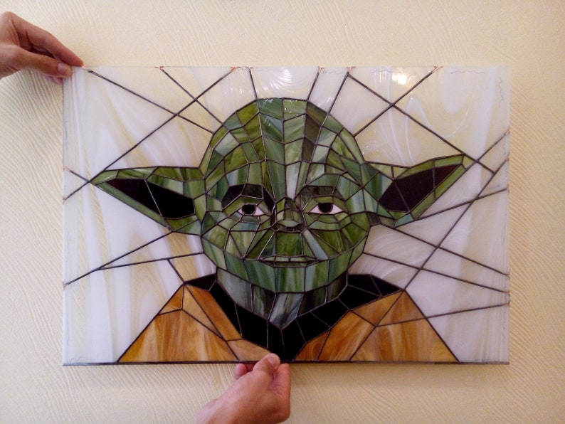 1d41ff5c0f Star Wars Jedi Master Yoda Stained Glass Window Panel