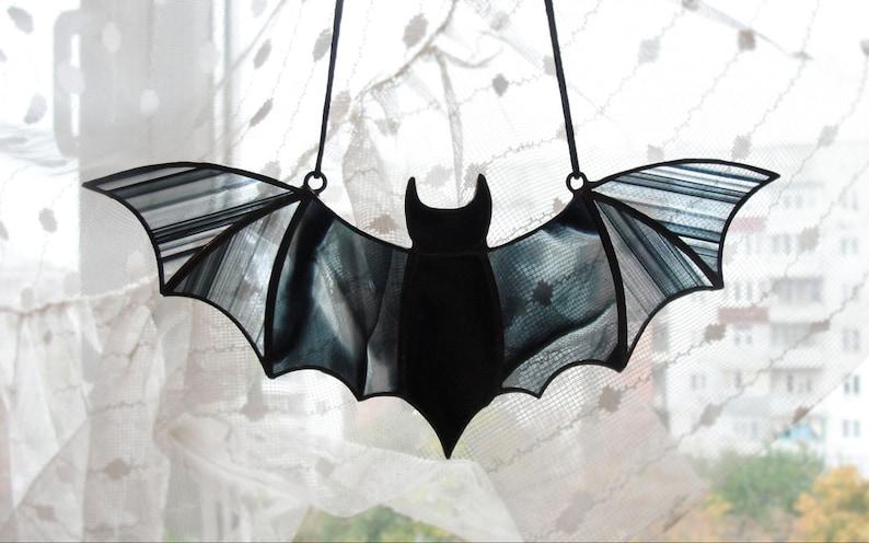 Halloween Window Decoration Black Stained Glass Bat Suncatcher Black