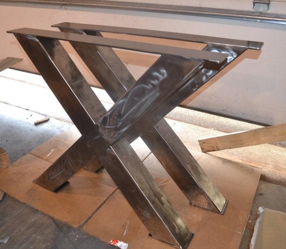 pieds de table m tal style industriel x frame nimporte etsy. Black Bedroom Furniture Sets. Home Design Ideas