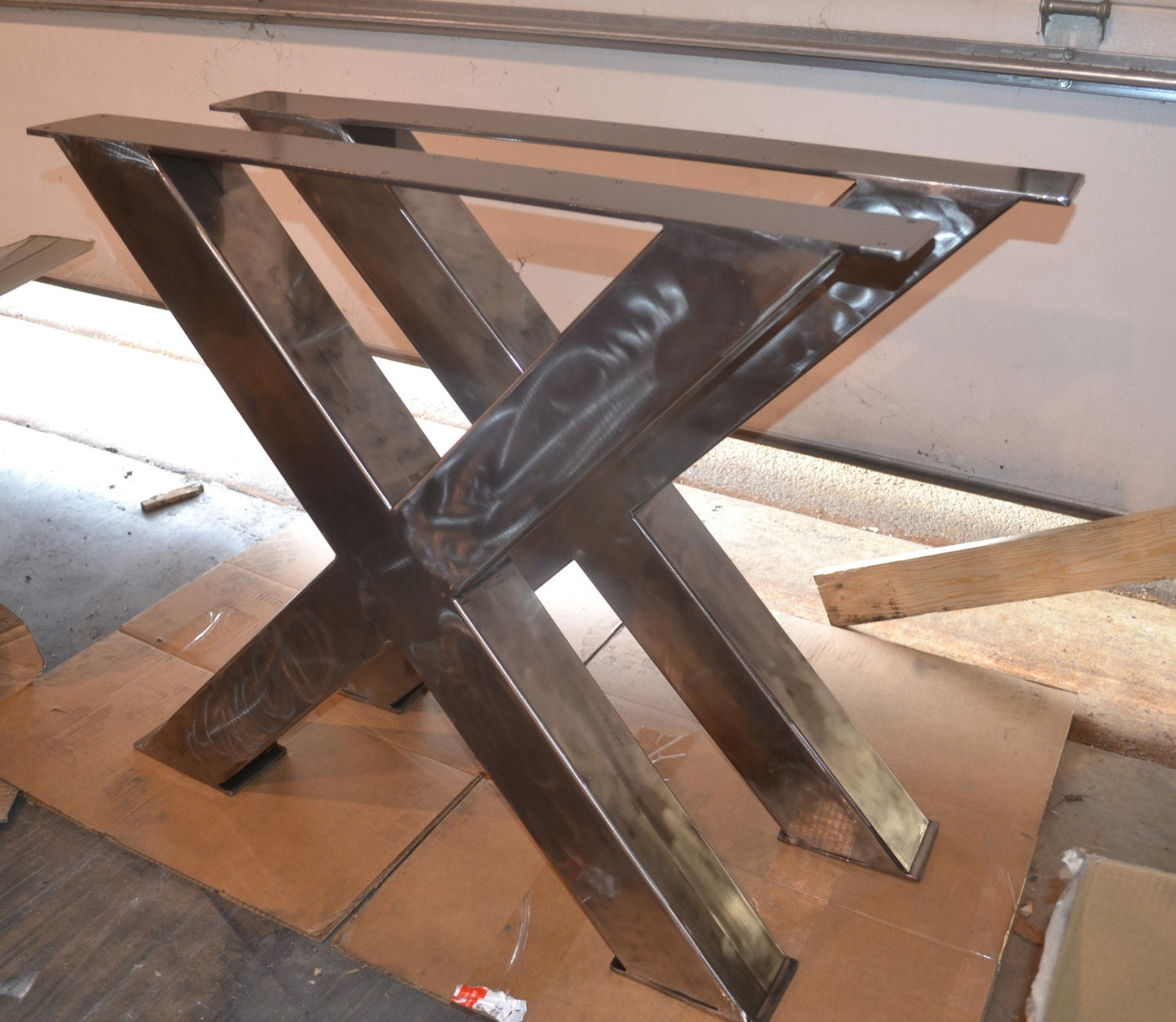 Metal table legs industrial x frame style any size and etsy