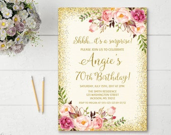 Surprise 70th Birthday Invitation Any Age Women Floral Ivory Boho Invite BW23 70