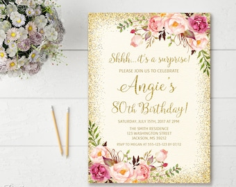 Surprise 80th Birthday Invitation Any Age Women Floral Ivory Boho Invite BW23 80