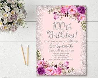 100th Birthday Invitation Any Age Women Floral Purple And Silver Boho Invite BW22 1000