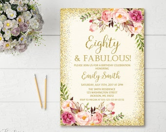 80th Birthday Invitation Any Age Women Floral Ivory And Gold Boho Invite BW23 80