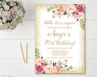 Surprise 70th Birthday Invitation Any Age Women Floral White Boho Invite BW42 70