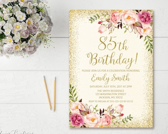 85th Birthday Invitation Any Age Women Floral Ivory And Gold Boho InviteBW23