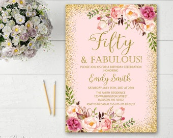 50th birthday invite etsy 50th birthday invitation any age women birthday invitation floral pink and gold women birthday invitation boho birthday invite bw02 50 filmwisefo