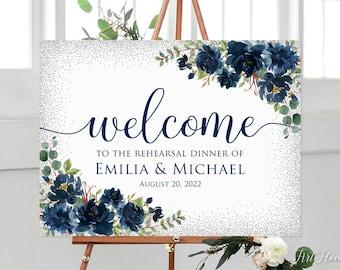 Printable Sign Digital File Rehearsal Dinner Welcome Sign Rustic Navy Rehearsal Dinner Welcome Sign Blue Flowers W521